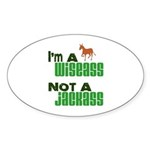 """Wiseass, Not Jackass"" Oval Sticker (50 pk)"