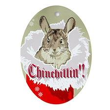 Chinchilla Christmas Oval Ornament