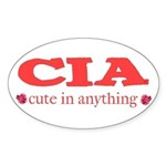 CIA cute in anything roses Oval Sticker (10 pk)