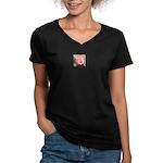 Pink Rose Women's V-Neck Dark T-Shirt
