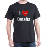 I Love Omaha (Front) Black T-Shirt