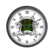 Douglas Tartan Shield Wall Clock