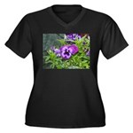 Purple Pansy Women's Plus Size V-Neck Dark T-Shirt
