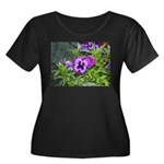 Purple Pansy Women's Plus Size Scoop Neck Dark T-S