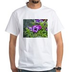Purple Pansy White T-Shirt