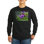 Purple Pansy Long Sleeve Dark T-Shirt