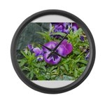 Purple Pansy Large Wall Clock