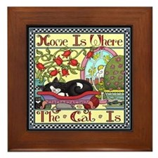 Home Is Where the Cat Is Framed Tile