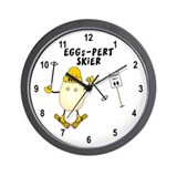 Eggs-pert Skier Wall Clock