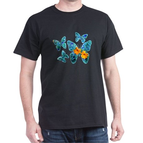 Electric Blue Butterflies Black T-Shirt