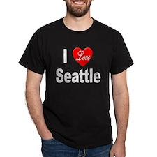 I Love Seattle (Front) Black T-Shirt