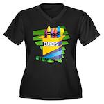 Crayons Women's Plus Size V-Neck Dark T-Shirt