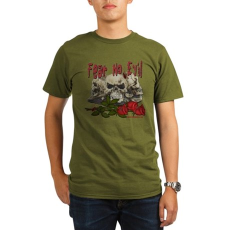 Fear No Evil Skull and Rose Organic Men's T-Shirt