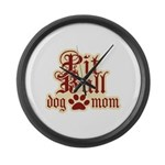 Pit Bull Mom Large Wall Clock