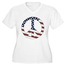 US Flag-Peace Sign-vintage lo T-Shirt