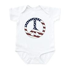 US Flag-Peace Sign-vintage lo Infant Bodysuit