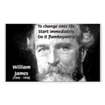 William James Life and Change Sticker (Rectangular