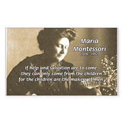 Maria Montessori Education Rectangle Sticker