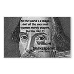 Playwright William Shakespeare Sticker (Rectangula
