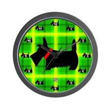 Green Plaid Scottie Wall Clock
