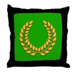 Green with Gold Laurel Throw Pillow