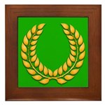 Green with Gold Laurel Framed Tile