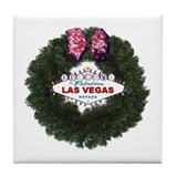 Christmas Wreath Las Vegas Tile Coaster