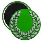 "Green with Silver Laurel 2.25"" Magnet (100 pack)"
