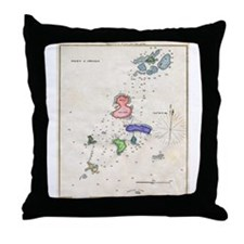 1864 Map of Portsmouth Isle of Shoals Throw Pillow