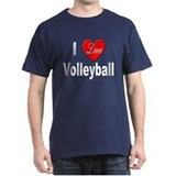 I Love Volleyball (Front) Black T-Shirt