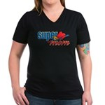 SuperMom Women's V-Neck Dark T-Shirt