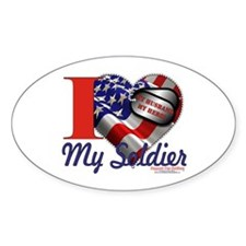 I love My Soldier Logo 1 Oval Decal