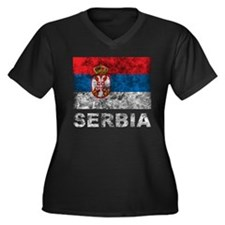 Vintage Serbia Women's Plus Size V-Neck Dark T-Shi