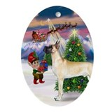Great Dane & Christmas Tree Oval Ornament
