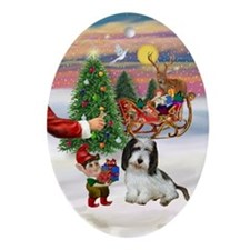 Santa's Treat for his PBGV (#2) Oval Ornament