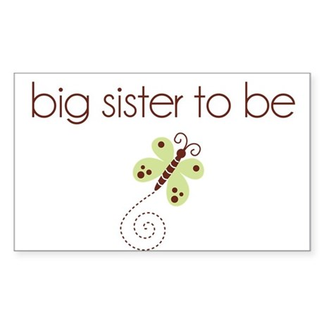 big sister to be dragonfly Rectangle Sticker