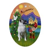 Norwegian Elkhound Xmas Fantasy Oval Ornament