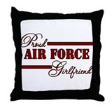 Proud Air Force Girlfriend (Red N Black) Throw Pil