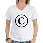 Copyright Symbol Women's V-Neck T-Shirt