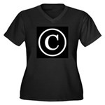 Copyright Symbol Women's Plus Size V-Neck Dark T-S