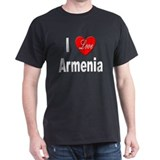 I Love Armenia (Front) Black T-Shirt