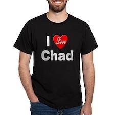 I Love Chad (Front) Black T-Shirt
