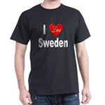 I Love Sweden (Front) Black T-Shirt