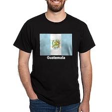 Guatemala Flag (Front) Black T-Shirt