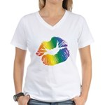 Big Rainbow Lips Women's V-Neck T-Shirt