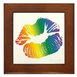 Big Rainbow Lips Framed Tile