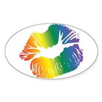 Big Rainbow Lips Oval Sticker (50 pk)