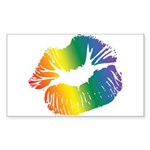 Big Rainbow Lips Rectangle Sticker 10 pk)
