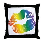 Big Rainbow Lips Throw Pillow