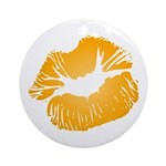 Big Orange Lips Round Ornament (Round)